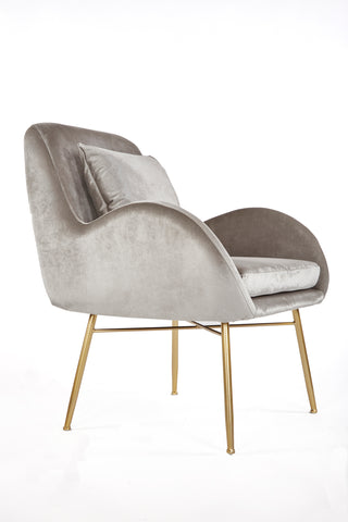 JF30-1218D-Sage Lounge Chair in Gray Velvet