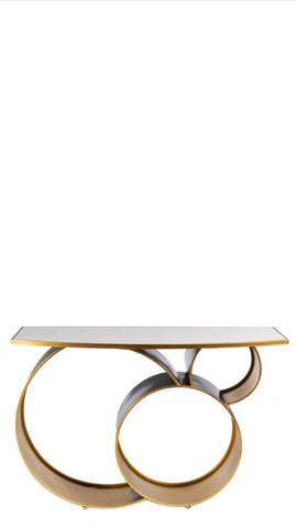 JQ15532D-Blake Marble Top Console Table in Gold