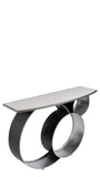 JQ15532DS-Blake Marble Top Console Table in Silver
