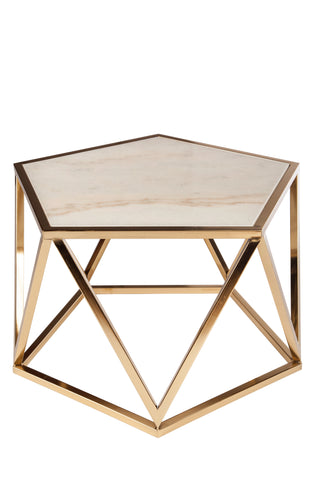 L170622Charlyn Marble Coffee Tablewhite and gold Statements by J