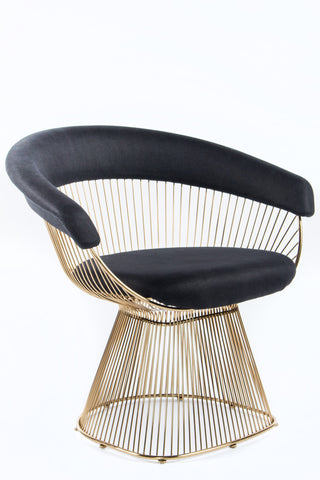 Platner Chair gold mumu platner chair with black linen seat – statementsj