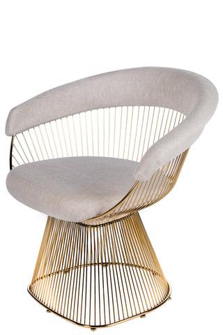 LC-2101GLDB-Soleil Platner Gold Accent Chair in Cream