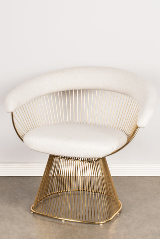 Awe Inspiring Lc 2101Gldb Soleil Platner Gold Accent Chair In Cream Gamerscity Chair Design For Home Gamerscityorg