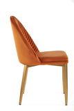 MC75-ORG-Wave Upholstered Dining Chair in Amber