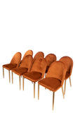 MC75-ORG-Wave Upholstered Dining Chair in Burnt Orange