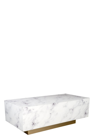 MF191104-WG-Lyla Block Faux Marble Coffee Table in White and gold-PRE-ORDER