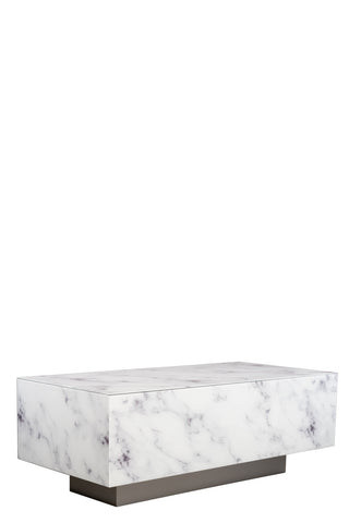 MF191104-WS-Lyla Block Faux Marble Coffee Table in White and silver