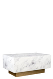 MF191106-W-Kara Block Faux Marble Coffee Table in White