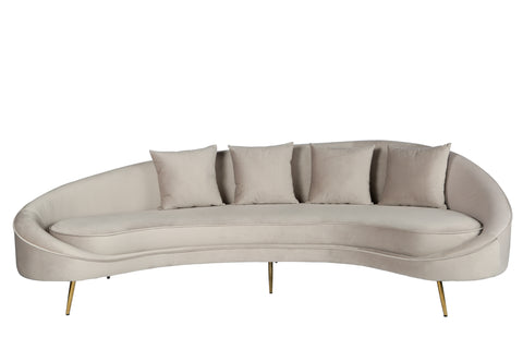 OSF11300GRY Cleo Curved Sofa In Light Gray ...