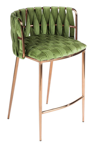 1538CS-GREEN-Milano Counter Chair in Green and Rose Gold