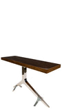 T-147SIL-Silver Branch Console Table with Brown Top