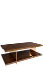 Clodette Wood and Bronze Stainless Steel Coffee Table