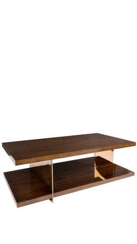 T-148-Clodette Wood and Bronze Stainless Steel Coffee Table