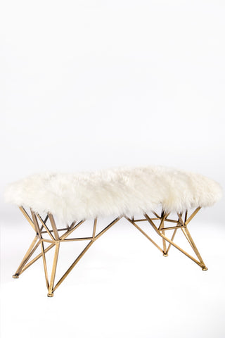 TX61272FUR-Carly Sheepksin Gold Bench