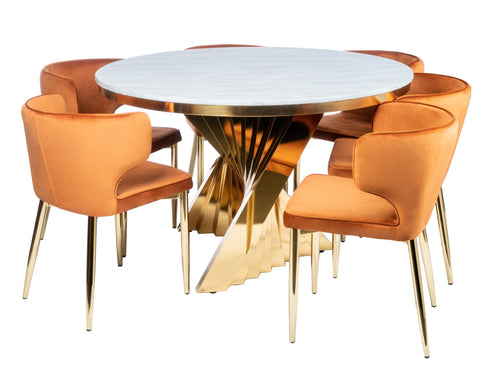 Round Waterfall Dining Set for 6 in Burnt Orange