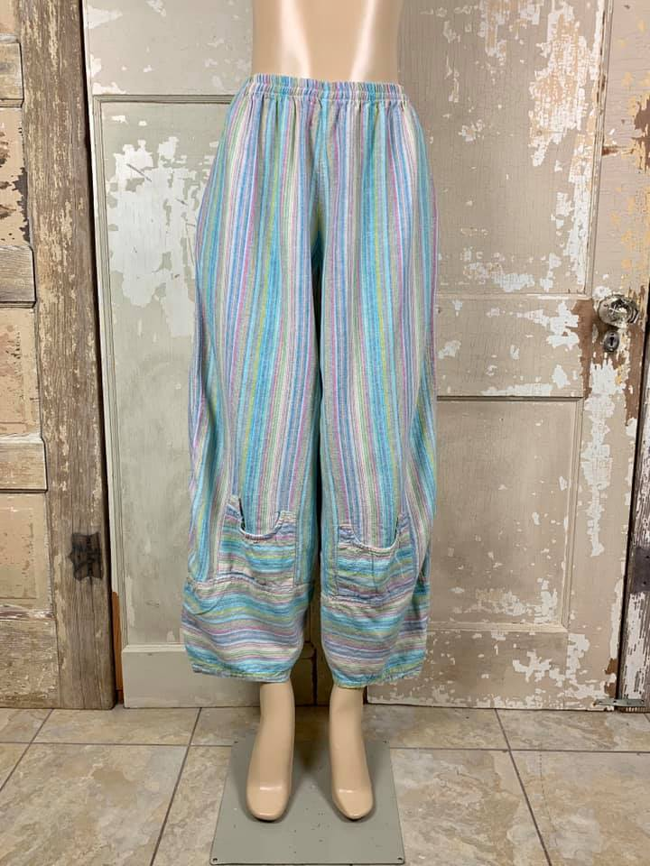 3421 Ginnie Linen Pant-Multi Blues