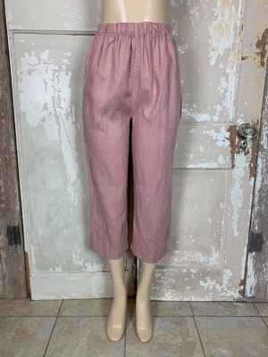60010 Solid Linen Capri Pants-Dusty Sand