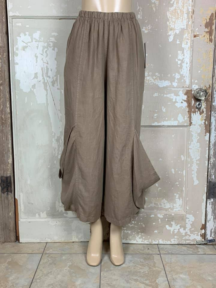 60035 Wide Leg Pocket Pant-Latte