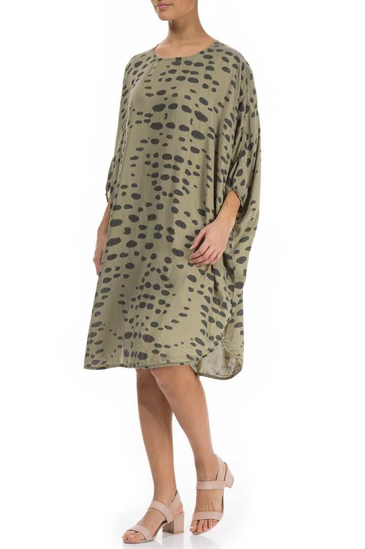 91132 Silk Dress/Tunic- Khaki Green