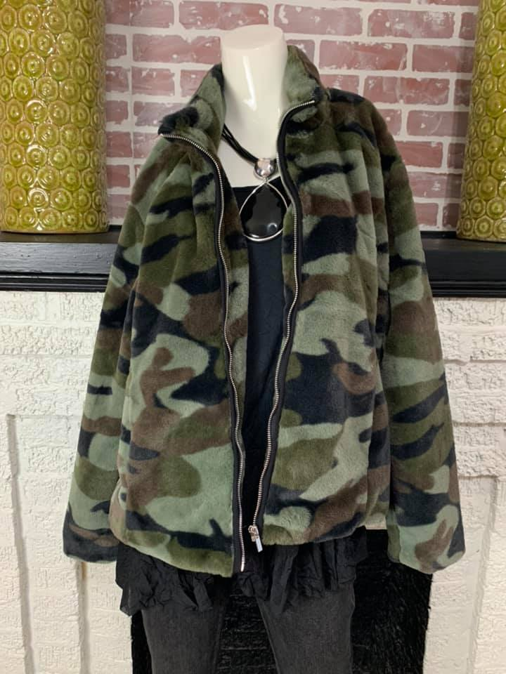6409O Faux Fur Coat-Camo