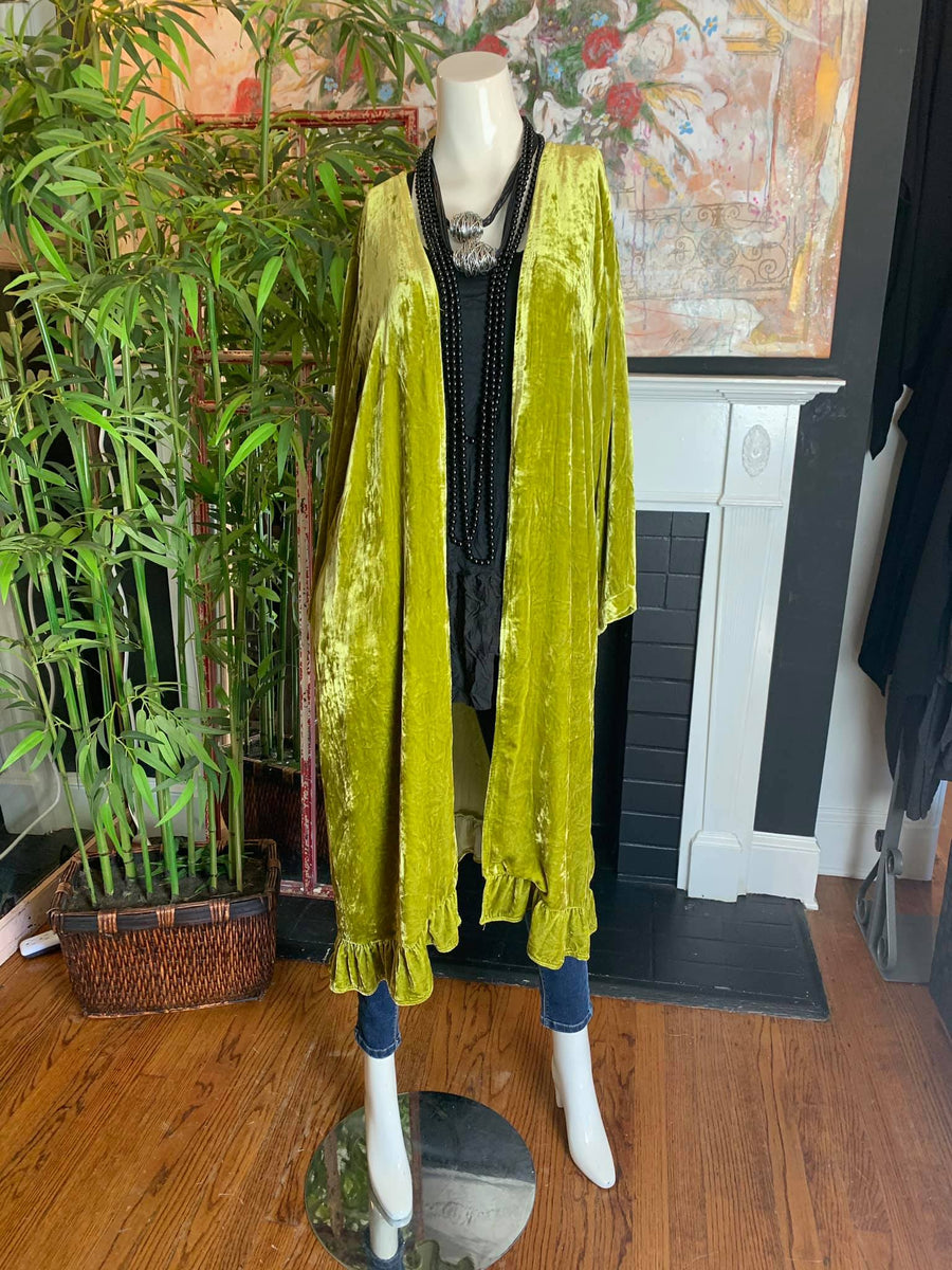 4103 Silk Velvet Kitty Duster-Citron