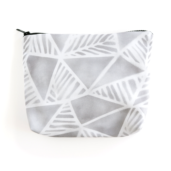 Geo Palms Grey Essentials Pouch