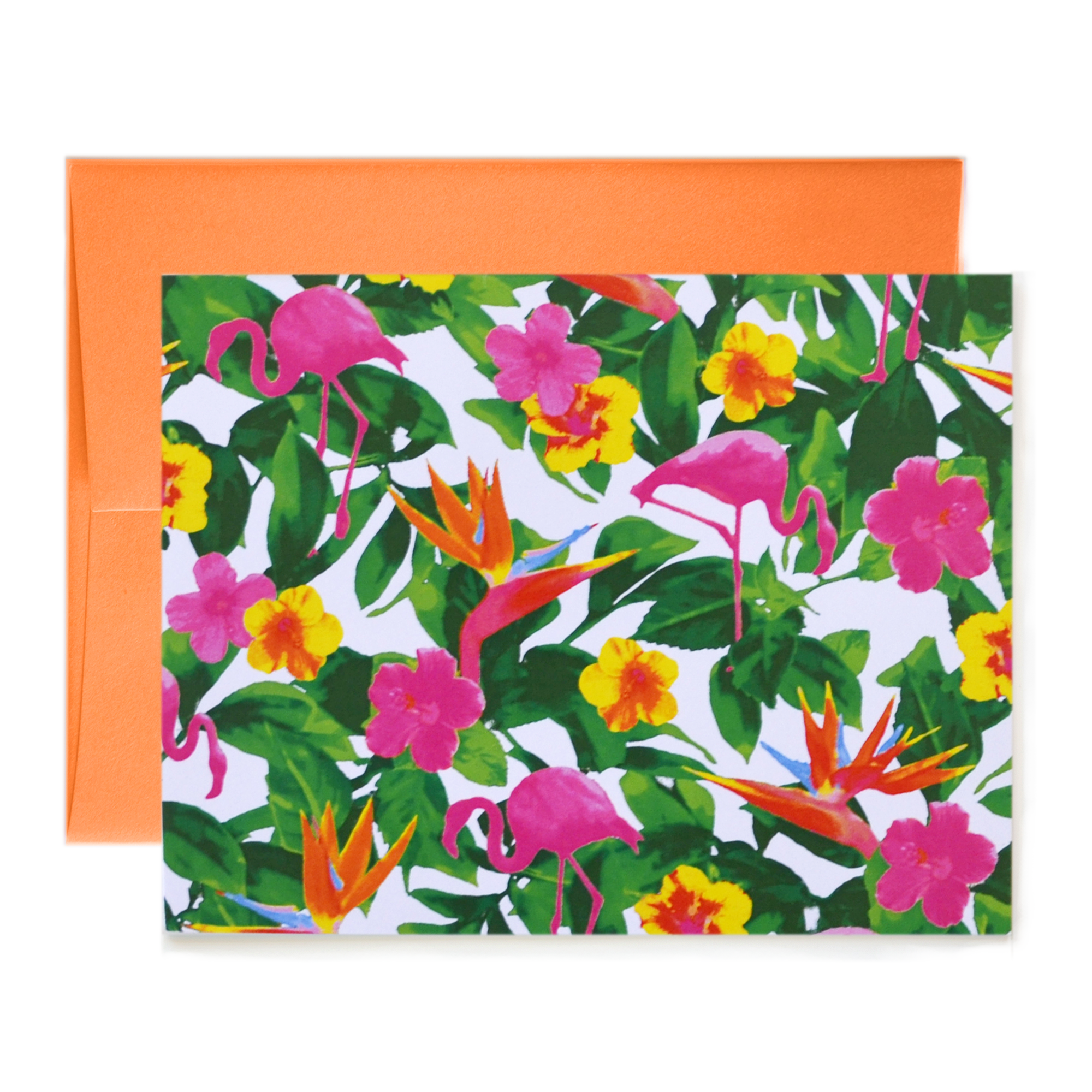 Flamingo Print White Notecard
