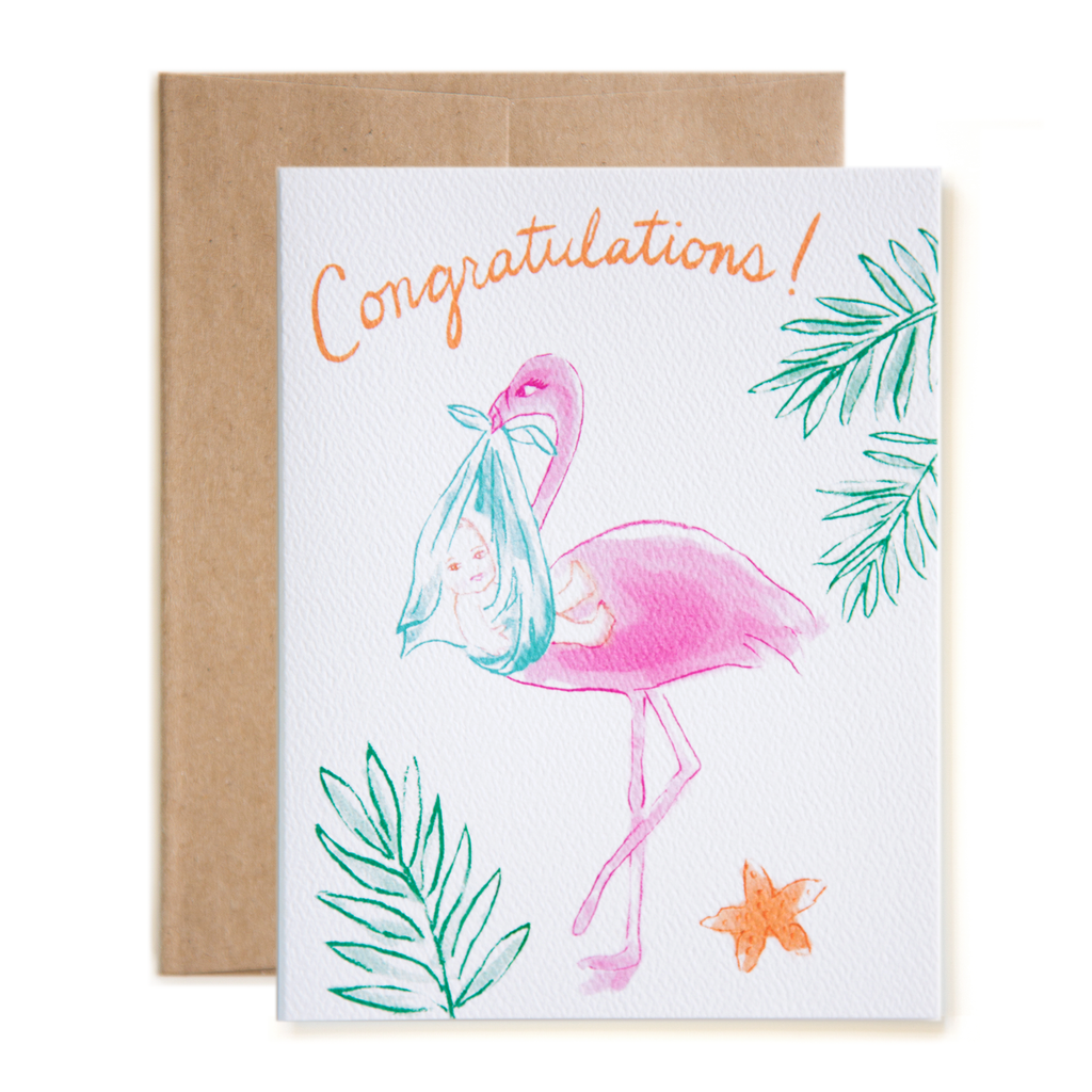 Flamingo Stork Congatulations! New Baby Card