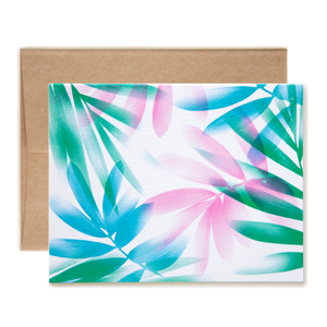 Airbrush Leaves Notecard