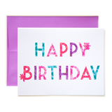 Floral Letters Happy Birthday Card