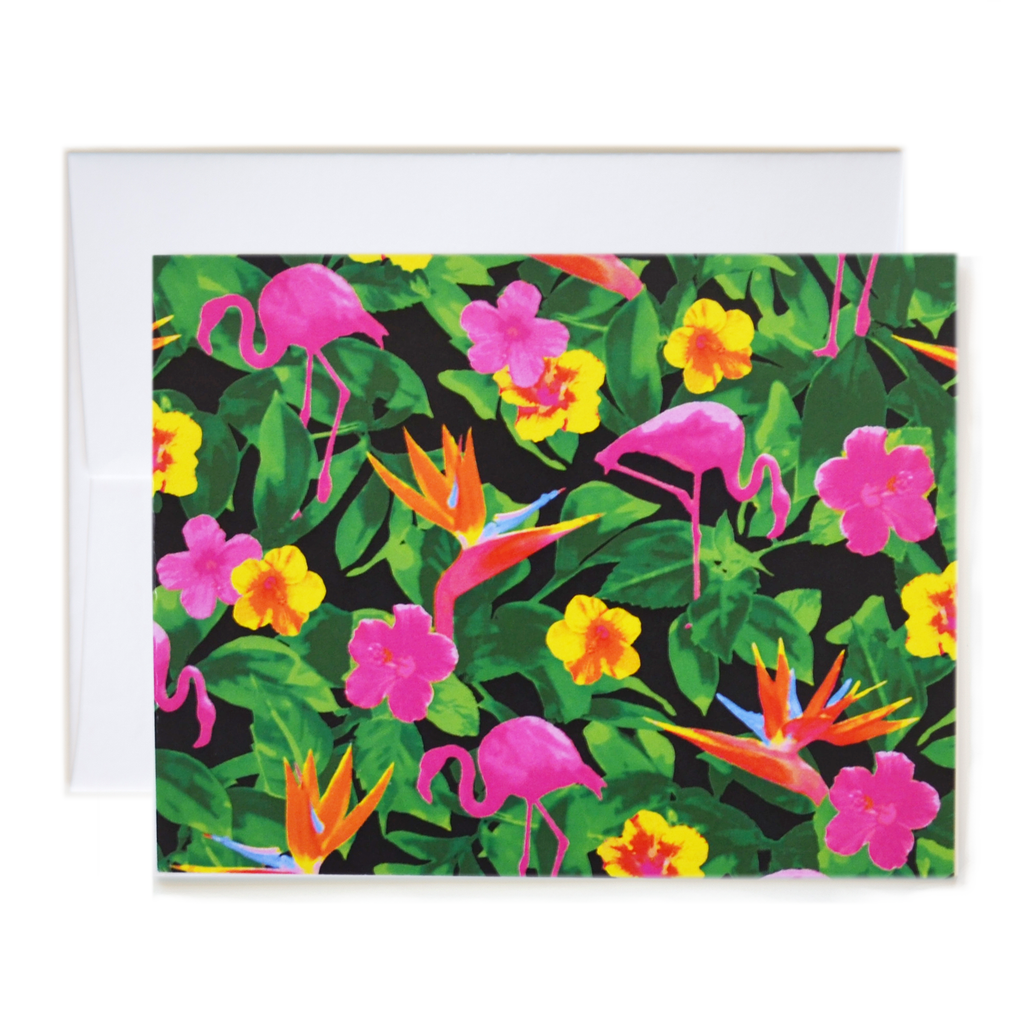 Flamingo Print Black Notecard