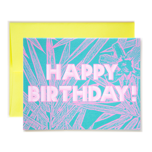 Bamboo Floral Teal Happy Birthday Card