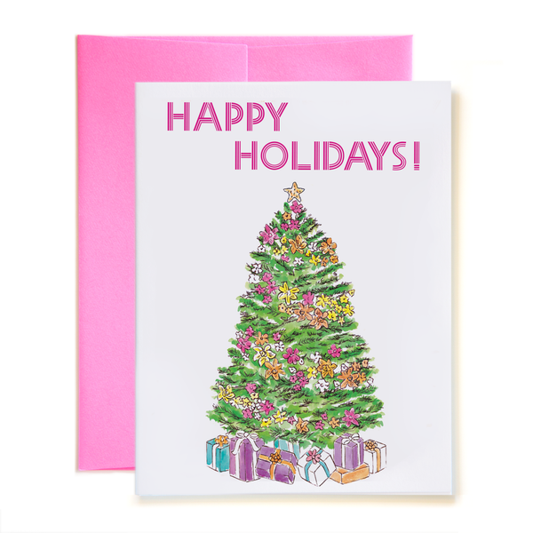 Happy Holidays Tropical Tree Card