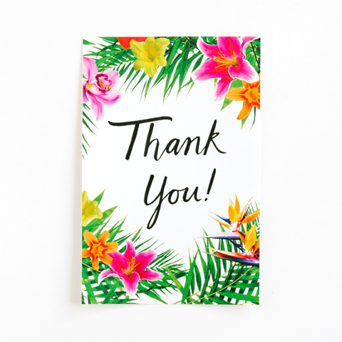 Tropical Floral Thank You Bottle Label
