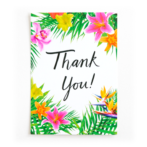 Tropical Floral Thank You Postcard- Set of 10