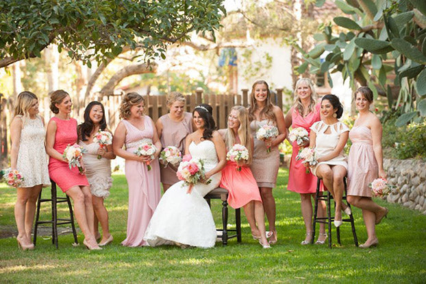 large wedding party girls
