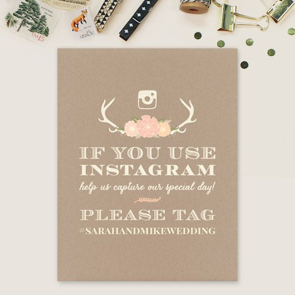 instagram sign with antlers