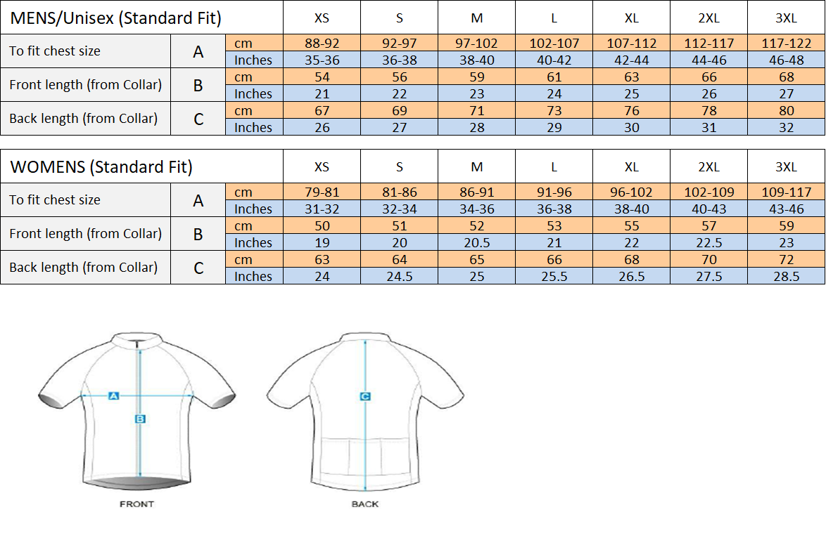 Standard Fit Cycling Jersey - Size Guide