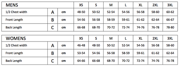 Running tops sizing chart