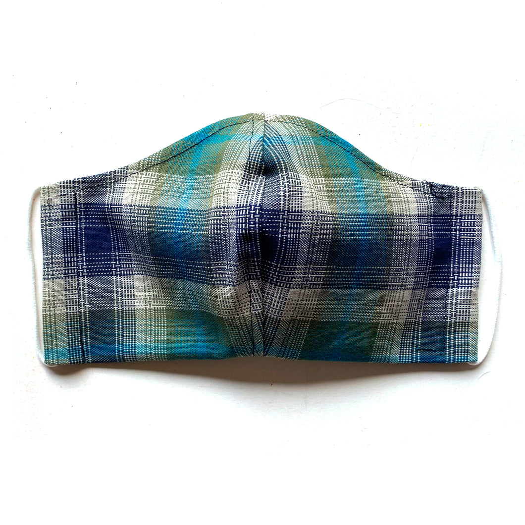 Blue plaid mask with elastic
