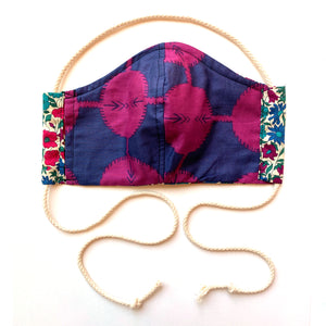reversible mini poppy Liberty print mask with ties