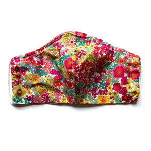 Reversible spring floral Liberty print mask with elastic