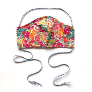reversible spring floral Liberty print mask with ties