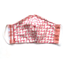 Load image into Gallery viewer, Peachy plaid reversible mask with elastic