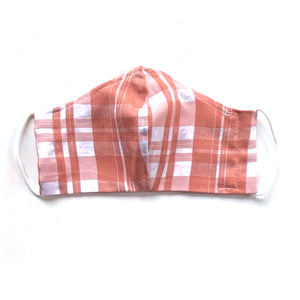 Peachy plaid reversible mask with elastic