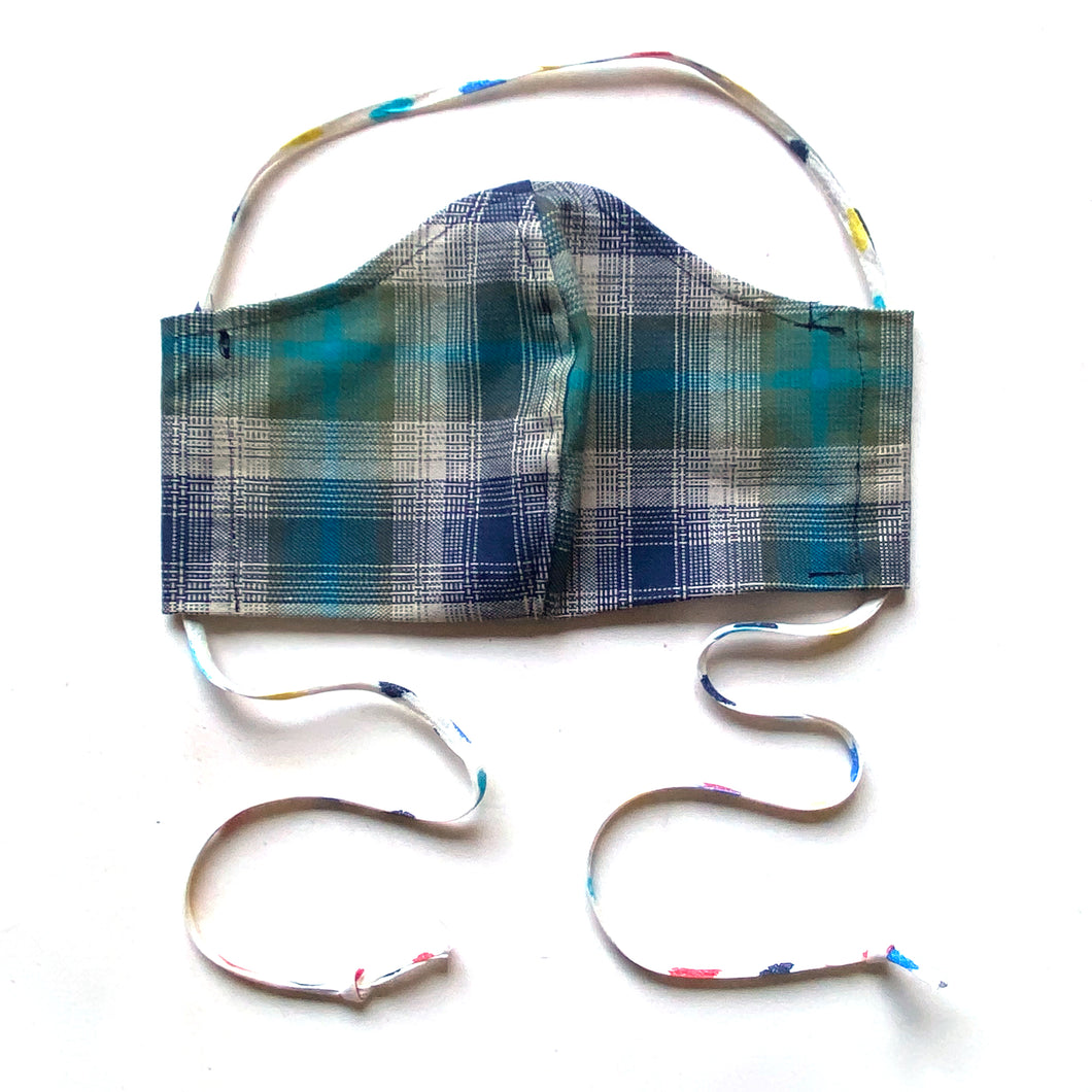 Blue plaid mask with ties