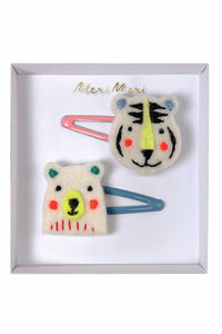 Embroidered bear and tiger clip