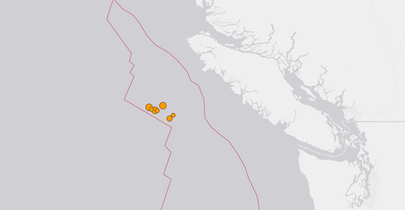 Six Mid-to-High Magnitude Earthquakes Occur Off BC Coastline - Continued Aftershocks Expected