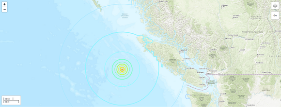 M 6.6 Earthquake 218km SW of Port Hardy