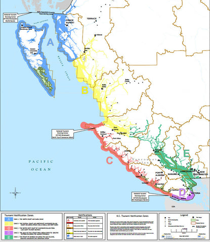 BC Tsunami Notification Zones
